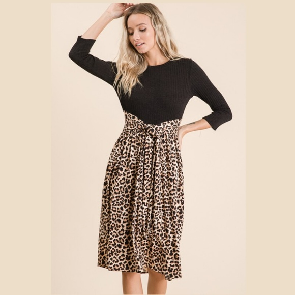 Reborn J Dresses & Skirts - Cheetah /Animal Print Contrast Midi Dress